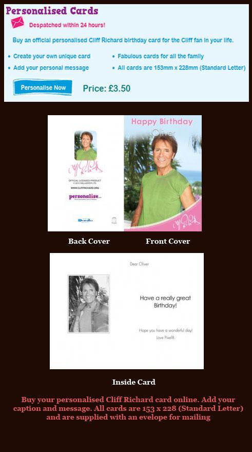 Cliff Richard Gifts – Cliff Richard Birthday Card